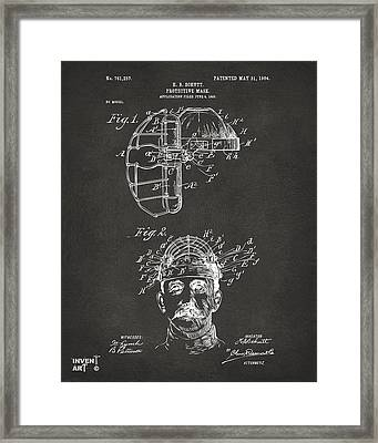 1904 Baseball Catchers Mask Patent Artwork - Gray Framed Print by Nikki Marie Smith