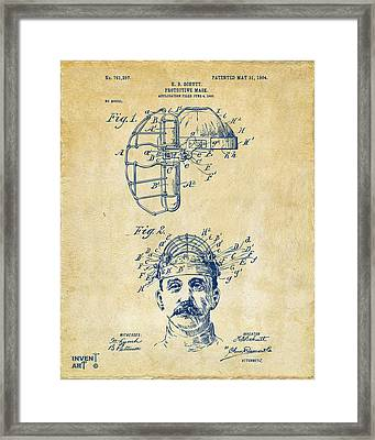1904 Baseball Catchers Mask Patent Artwork - Vintage Framed Print by Nikki Marie Smith