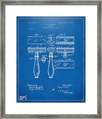 1904 Gillette Razor Patent Artwork Blueprint Framed Print by Nikki Marie Smith
