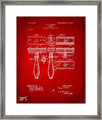 1904 Gillette Razor Patent Artwork Red Framed Print by Nikki Marie Smith