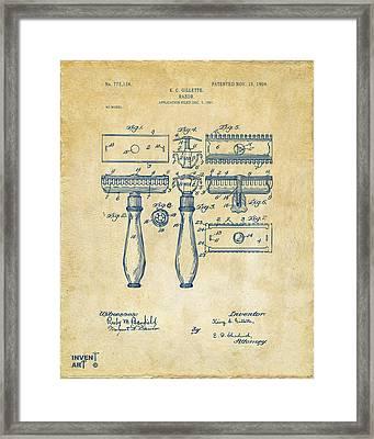 1904 Gillette Razor Patent Artwork Vintage Framed Print by Nikki Marie Smith