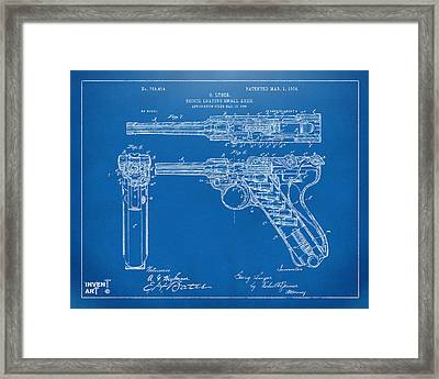 1904 Luger Recoil Loading Small Arms Patent - Blueprint Framed Print by Nikki Marie Smith