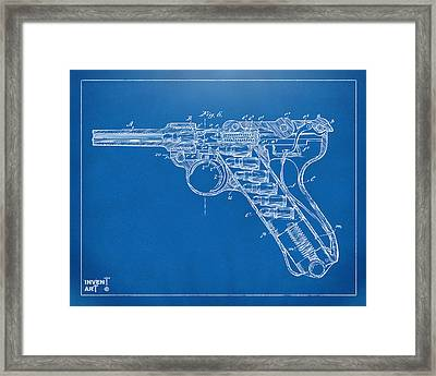 1904 Luger Recoil Loading Small Arms Patent Minimal - Blueprint Framed Print by Nikki Marie Smith