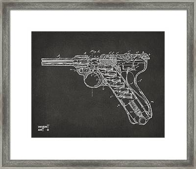 1904 Luger Recoil Loading Small Arms Patent Minimal - Gray Framed Print by Nikki Marie Smith