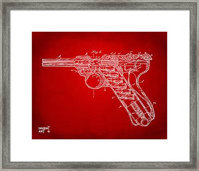 1904 Luger Recoil Loading Small Arms Patent Minimal - Red Framed Print by Nikki Marie Smith