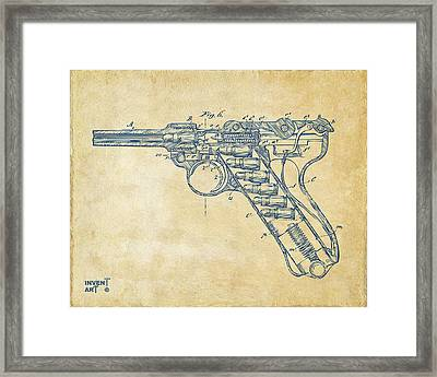 1904 Luger Recoil Loading Small Arms Patent Minimal - Vintage Framed Print by Nikki Marie Smith