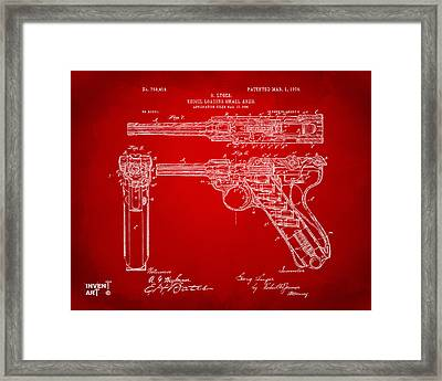 1904 Luger Recoil Loading Small Arms Patent - Red Framed Print by Nikki Marie Smith