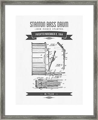 1904 Stanton Bass Drum Patent Drawing Framed Print by Aged Pixel