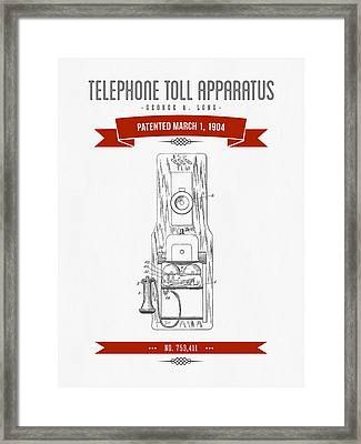 1904 Telephone Toll Apparatus Patent Drawing - Retro Red Framed Print