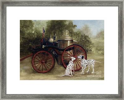 1905 Firehouse Dogs Framed Print by Stella Violano