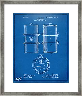 1905 Oil Drum Patent Artwork - Blueprint Framed Print