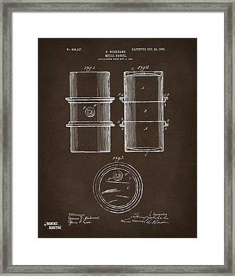 1905 Oil Drum Patent Artwork Espresso Framed Print