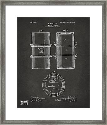 1905 Oil Drum Patent Artwork - Gray Framed Print