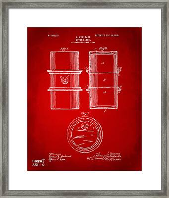 1905 Oil Drum Patent Artwork - Red Framed Print
