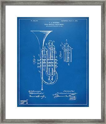 1906 Brass Wind Instrument Patent Artwork Blueprint Framed Print