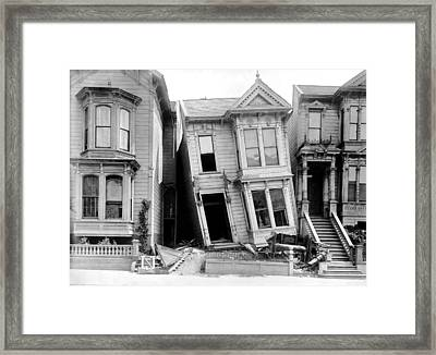 1906 Earthquake Damages Homes Framed Print by Underwood Archives