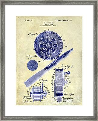 1906 Fishing Reel Patent Drawing 2 Tone Framed Print