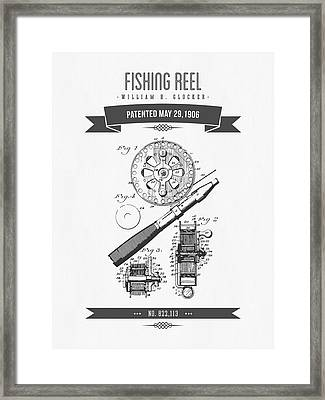 1906 Fishing Reel Patent Drawing Framed Print by Aged Pixel