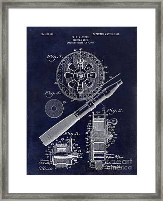 1906 Fishing Reel Patent Drawing Blue Framed Print