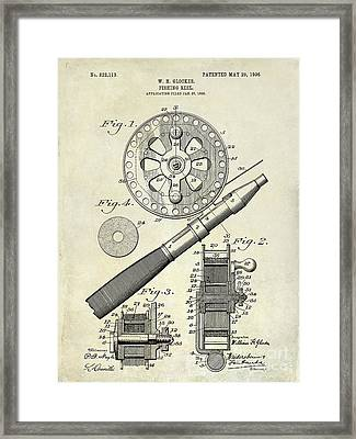 1906 Fishing Reel Patent Drawing Framed Print by Jon Neidert