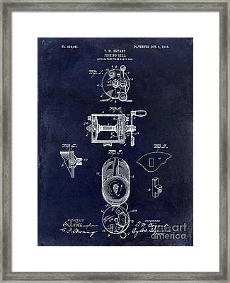 1906 Fishing Reel Patent Drawing.blue Framed Print
