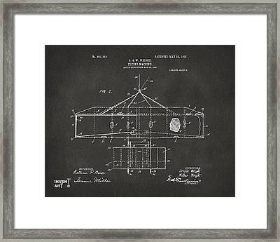 1906 Wright Brothers Airplane Patent Gray Framed Print