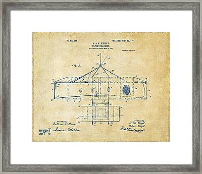1906 Wright Brothers Airplane Patent Vintage Framed Print