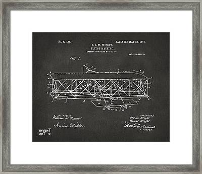 1906 Wright Brothers Flying Machine Patent Gray Framed Print
