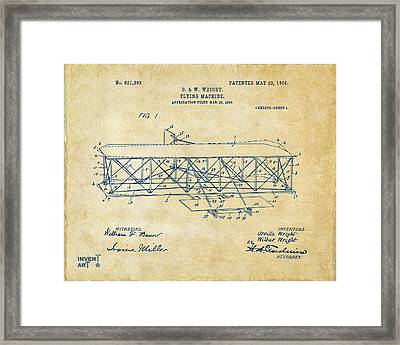 1906 Wright Brothers Flying Machine Patent Vintage Framed Print by Nikki Marie Smith