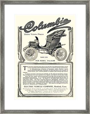 1907 - Columbia Victoria Phaeton Electric Automobile Advertisement Framed Print by John Madison