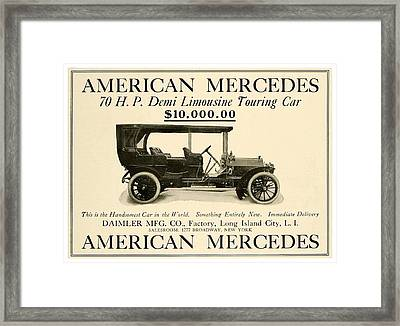 1907 - Daimler Manufacturing Company - American Mercedes Demi Limousine Automobile Advertisement Framed Print by John Madison