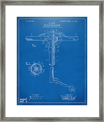 1907 Henry Ford Steering Wheel Patent Blueprint Framed Print by Nikki Marie Smith