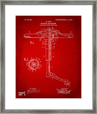 1907 Henry Ford Steering Wheel Patent Red Framed Print by Nikki Marie Smith