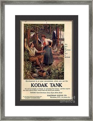 1907 Vintage Kodak Tank Advertising Framed Print