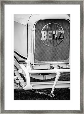 1908 Benz Prince Heinrich Two Seat Race Car Grille Emblem -1696bw Framed Print by Jill Reger