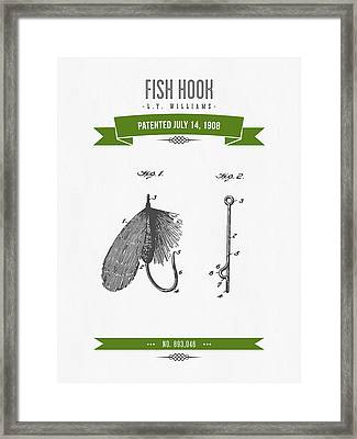 1908 Fish Hook Patent Drawing - Retro Geen Framed Print by Aged Pixel