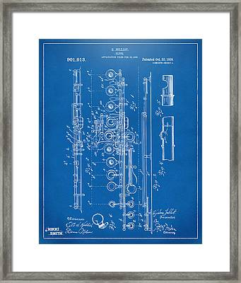 1908 Flute Patent - Blueprint Framed Print by Nikki Marie Smith