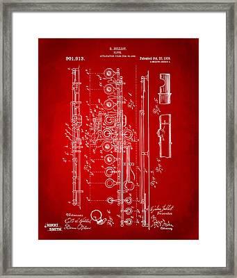 1908 Flute Patent - Red Framed Print