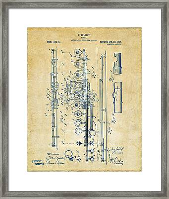 Framed Print featuring the digital art 1908 Flute Patent - Vintage by Nikki Marie Smith