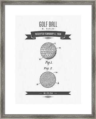 1908 Taylor Golf Ball Patent Drawing - Retro Gray Framed Print by Aged Pixel