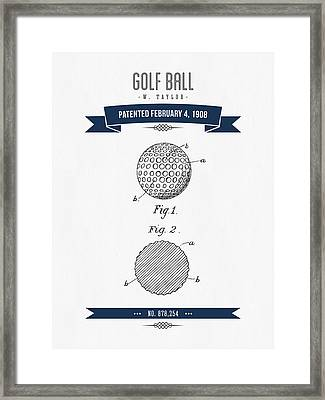 1908 Taylor Golf Ball Patent Drawing - Retro Navy Blue Framed Print by Aged Pixel