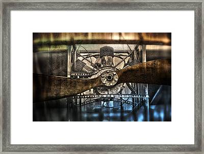 1909 Biplane Engine And Propeller Framed Print