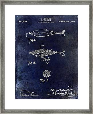 1909 Fishing Lure Patent Drawing Blue Framed Print