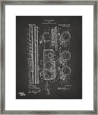 1909 Flute Patent - Gray Framed Print