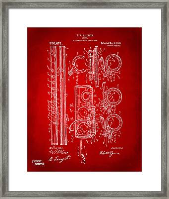 1909 Flute Patent In Red Framed Print