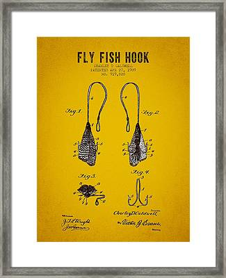 1909 Fly Fish Hook Patent - Yellow Brown Framed Print by Aged Pixel