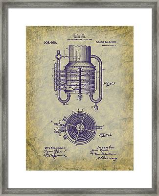 1909 Jett Whiskey Still Patent Framed Print