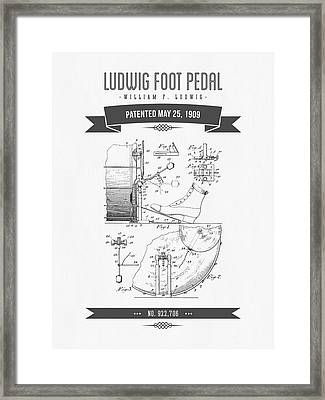 1909 Ludwig Foot Pedal Patent Drawing Framed Print by Aged Pixel