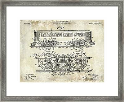 1909 Railway System Patent Drawing  Framed Print