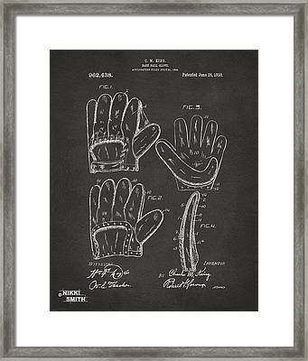 1910 Baseball Glove Patent Artwork - Gray Framed Print